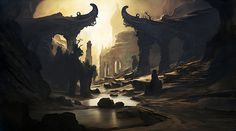 Here we have sci-fi imagery that seems to be based around ancient architecture. The immediate thing noticeable is the glowing light that shines forwards leaving shadows and highlighting certain areas which leaves the gamer feeling calm and in awe. The fact that this place seems to be deserted and withered away gives the audience a sudden nostalgic feel to the game. The colour codes are dark and dull  which puts more emphasis on the gleaming light shining downwards.