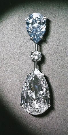 Diamond pendant Fancy Vived Blue and pear shaped white diamond exceptional pure