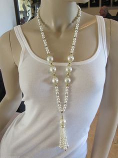 On the model. Christian Dior Vintage Pearl Tassel Runway Necklace, Sautoir