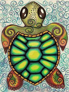 Baby Sea Turtle Art Print by Alohalani I want to draw this myself! Sea Turtle Art, Turtle Love, Cute Turtles, Sea Turtles, Baby Turtles, Tortoise Turtle, Turtle Painting, Painting Art, Mandala Painting
