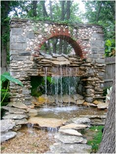 I love this rock wall waterfall