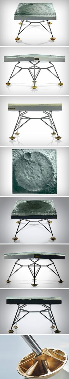 The Apollo 11 table is a stunningly detailed replica of the moon, but more specifically, it's the point on the moon that humans made first contact with! That's right. Sculpted in fiberglass with details so precise, they will make your jaw drop, the Apollo 11 table showcases the crater on which the Apollo 11 landed in 1969, marking man's first steps on the moon.