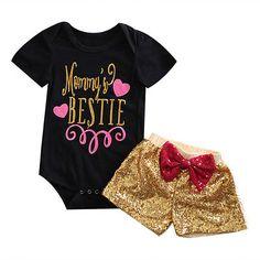 >> Click to Buy << 2pcs!!Newborn Baby Girl Clothes Set Short Sleeve Tops Romper +Sequin Short Pants 2Pcs Outfits Set Clothes #Affiliate