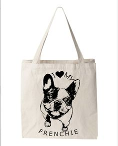 Frenchie French Bulldog Tote Bag Canvas by FreeBirdCloth on Etsy, $15.00