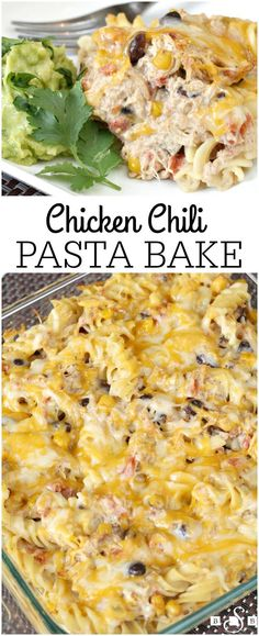 Chicken Chili Pasta Bake - Butter With a Side of Bread AD (Healthy Pasta Recipes Crockpot) Baked Pasta Recipes, Potluck Recipes, Casserole Recipes, Mexican Food Recipes, Chicken Recipes, Dinner Recipes, Dinner Ideas, Chicken Casserole, Potluck Ideas