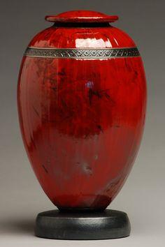 Classic Red Raku Urn by ElementalUrns on Etsy