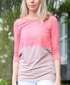 Another great find on #zulily! 42POPS Coral & Brown Color Block Scoop Neck Top by 42POPS #zulilyfinds