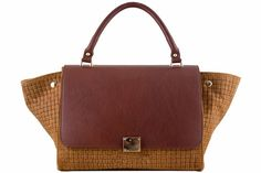 Etasico Rosalita Italian Leather Trapeze Woven Handbag Color Cognac Brown $199 on SALE $159. #EtasicoRosalita #Etasico #BagMadness