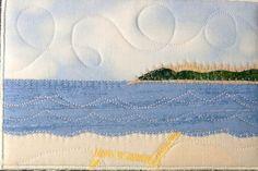 ocean landscape quilt | Fabric Postcard Art Quilt-Beach Landscape Mini Applique Art Quilt Fabric Cards, Fabric Postcards, Small Quilts, Mini Quilts, Quilting Projects, Quilting Designs, Landscape Fabric, Beach Landscape, Beach Quilt