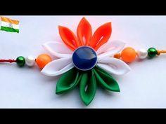 Diy Indian tricolor rakhi design/rakhi making for kids school competition/ribbon rakhi/ribbon Flower rakhi/making ribbon Kanzashi flower/Kanzashi flower rakhi Handmade Rakhi Designs, Handmade Design, Rakhi Pic, Raksha Bandhan Cards, Rakhi Cards, Rakhi Making, Paper Quilling Jewelry, Independance Day, Indian Flag