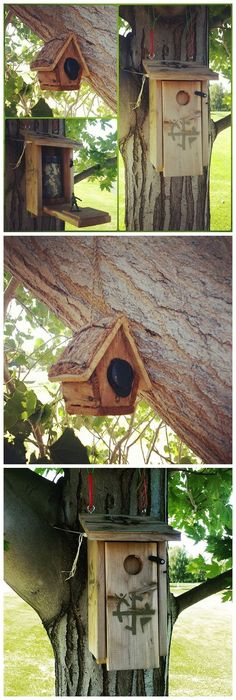 Birdhouse geocaches. Have you ever found a cache like this? I've made them already, using cheap houses from the Dollar Store. (pics from Instgram combined & pinned to Birdhouse Geocaches - https://www.pinterest.com/islandbuttons/birdhouse-geocaches/) #IBGCp