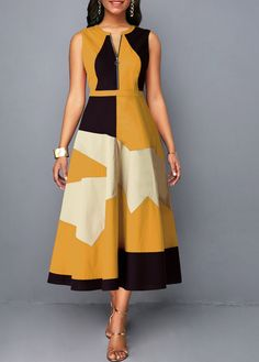 Sleeveless Half Zipper Geometric Print Dress Women Clothes For Cheap, Collections, Styles Perfectly Fit You, Never Miss It! Trendy Dresses, Women's Fashion Dresses, Sexy Dresses, Dresses For Sale, Casual Dresses, Dress Sale, Casual Outfits, Summer Outfits, Grunge Style Outfits