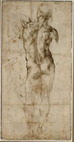 Michelangelo, Stehender männlicher Rückenakt, um 1503 © Albertina, Wien  #Michelangelo #Renaissance #Drawing #GraphicArt #GraphicCollection #Masterpiece