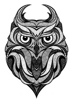 Owl illustration, black and white