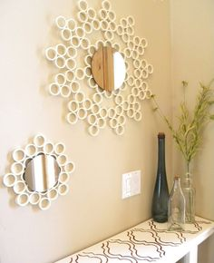 PVC pipes aren't just for waterways you can make unexpected DIY projects out of them. These crafty PVC pipe tutorials show you how to make the cutest crafts, DIY Decor, and toys for kids. Some of these PVC pipe projects include a pvc pipe sunburst mirror… Pvc Pipe Crafts, Pvc Pipe Projects, Diy Crafts, Diy Pipe, Decor Crafts, Welding Projects, Arts And Crafts, Cool Mirrors, Diy Mirror