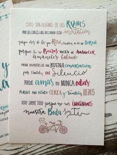Cuéntale a tus invitados algunas de las razones por las que quieres que estén con vosotros en ese día tan importante y hazlo con letras divertidas, diferentes