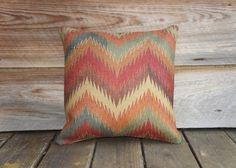 Chevron Burlap Pillow Cover, Aztec Throw Pillow, Decorative, Rustic, Southwestern, 16x16. via Etsy.
