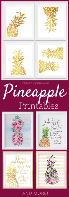 Lots of Pineapple printables! Perfect alone or in a gallery wall. goldfoil, watercolor, tropical art print #pineapple #printable #ad #etsyseller
