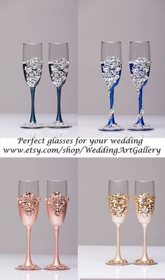 Gold Wedding glasses and Cake Server Set Wedding Cake Knife ivory and gold Cake Cutting Set Toasting flutes Champagne glasses gold, set of 4 For these glasses color: gold and ivory All completely handmade! MEASUREMENTS: -Champagne flutes : Height - 9.2 inch (23.5 sm). Volume – 170ml (6.1 oz) - set for cake: cake server - 10 cake knife - 13 Custom champagne glasses may be created to fit your needs. Your unique wedding colors can be used for this design. Names and date may be painted to…