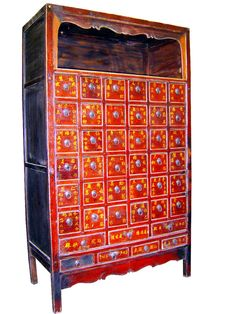 Antique Chinese Apothecary Cabinet (3280) Red Lacquer, Circa Of Late 18th…