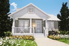 This quaint vacation-style cottage provides a perfect couple's getaway. The bedroom suite showcases a large closet and full-featured bath area. The traditional living room with fireplace is perfect for reading, relaxing or visiting with guests. The front and rear porch provide a place to enjoy the scenic views. Small Cottage House Plans, Small House Living, Small Cottage Homes, Southern Living House Plans, Small House Floor Plans, Cottage Floor Plans, Bungalow House Plans, Cottage Plan, Craftsman Style House Plans