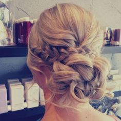 Braided Low Updo Hairstyles For Curly Hair Wedding: