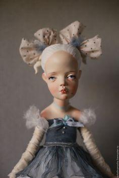 """Купить кукла """"Девочка с бантами"""" - голубой, кукла ручной работы, кукла, авторская кукла"""