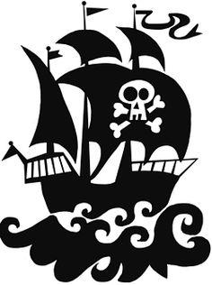 Michas Stoffecke - Velours-Motiv - großes Piratenschiff schwarz A-VJP-093-Z