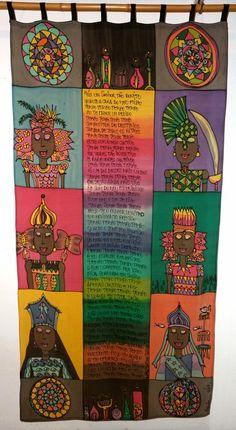 "bandô em seda pintada ""Oração ao Tempo"" (Caetano Veloso) por Marlene Wolfensberger (Ateliê Lilimarlene)"