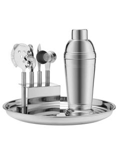 """Our Ultimate Father's Day Gift Guide   Martha Stewart Living - You know he envies the bar in Roger Sterling's office, so help him realize his his """"Mad Men"""" cocktail dreams with this elegant seven-piece stainless-steel Martha Stewart Collection bar tool kit."""