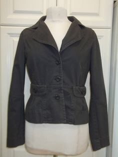 Anthropologie Ett wa 12 jacket blazer gray font pockets button front cotton blnd