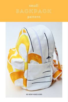 Free Sewing Pattern: Small Backpack Pattern for Small Budgets Backpack Tutorial, Diy Backpack, Backpack Pattern, Small Backpack, Backpack Straps, Backpack Sewing Patterns, Toddler Backpack, Sewing Patterns Free, Free Sewing