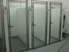 Dog Boarding Kennel Designs | Glass doors allow for dogs to see out and for us to disinfect between ...