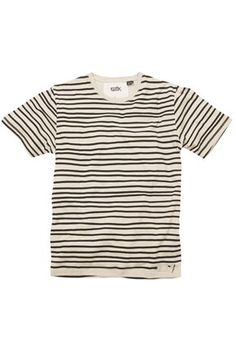 The uneven stripes are great, and the name is even better: STRIPEY LUBE TEE DEAN CREW