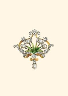 AN ART NOUVEAU NATURAL PEARL, DIAMOND AND ENAMEL BROOCH  -  Of foliate design, the cartouche-shaped panel with green enamel fronds and pink enamel border to the old-cut diamond scrolls and natural pearl flower buds and pendent drop, circa 1905.