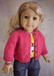 American Girl Doll Cardigan Sweater free Knitting Pattern
