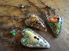 """Locked Heart"" Locket Pendants. Silver (oxidised),reclaimed tins, gemstone beads. By Fluxplay Jewellery, a British artist"