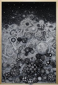 """Cornucopia,"" by Spanish Artist Paco Vila Guillen.  ""I create unique work usually composed by intricate, compulsive and repetitive patterns. ""blk and wht can be beautiful"