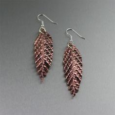 Just Listed Striking Corrugated Fold Formed Copper Leaf Earrings https://www.ilovecopperjewelry.com/corrugated-fold-formed-copper-leaf-earrings.html