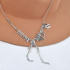 Silver plated Gothic Style Dinosaur T.REX Skeleton Necklace NEW FOR 2016