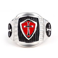 New Stainless Steel Titanium Red Armor Shield Knight Templar Ring //Price: $12.00 & FREE Shipping //     #love