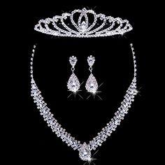 Prom Jewelry, Bridal Jewelry Sets, Cheap Jewelry, Bridal Accessories, Wedding Jewelry, Silver Jewelry, Wedding Shoes Heels, Fashion Jewelry, Occasion Spéciale
