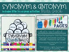 This Synonyms & Antonyms Mini Pack is just what your classroom needs while cooped up inside during those cold winter months! These activities promote hands on learning, while creating some pretty cute products along the way for a great hallway or