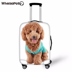 WHOSEPET 3D Kawaii Teddy Elastic Perfectly Suitcases Protective Covers Luggage Anti-dust Cover Cute Dogs Print for Trolley Trunk