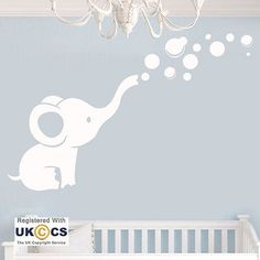 Animal Elephant Cute Nursery Girls Boys Wall Art Stickers Decals Vinyl Home Room