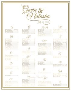 This seating chart has #goldwedding font and #customcalligraphy. $55