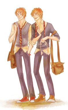 I can't go back again.. by viria13.deviantart.com the weasley twins!