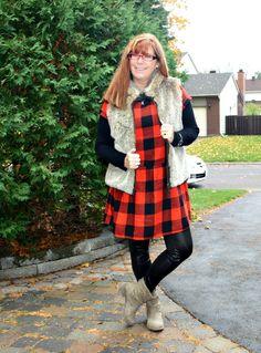 Brunch with a Smile buffalo plaid old navy dress, gap fur vest, kiki larue leggings