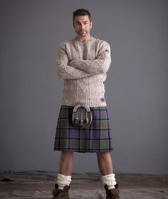 Men's 100% British Wool All Over Arran Cable Knit Fitted Crew Neck Pullover | Hawick Knitwear