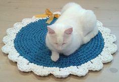 Crochet Round Pet Mat in Blue and White Ribbon by PetShopByKika